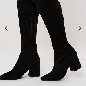 Black Over The Knee Boots Block Heel Faux Suede 7